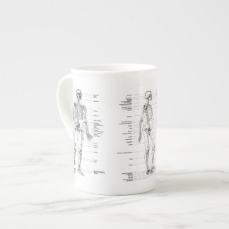 Xícara De Chá Vintage - esqueleto etiquetado - parte dianteira,