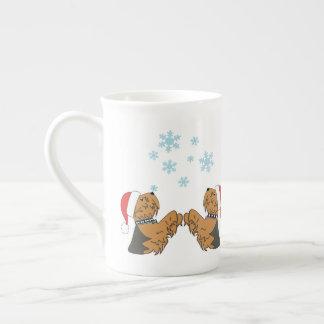 Xícara De Chá Yorkies e flocos de neve