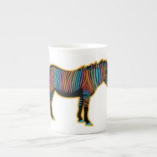 Xícara De Chá Zebra colorida do arco-íris