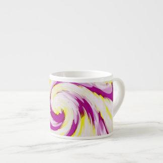 Xícara De Espresso Abstrato branco amarelo cor-de-rosa Groovy do