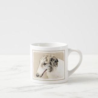 Xícara De Espresso Arte original de pintura do cão do Borzoi (rajado