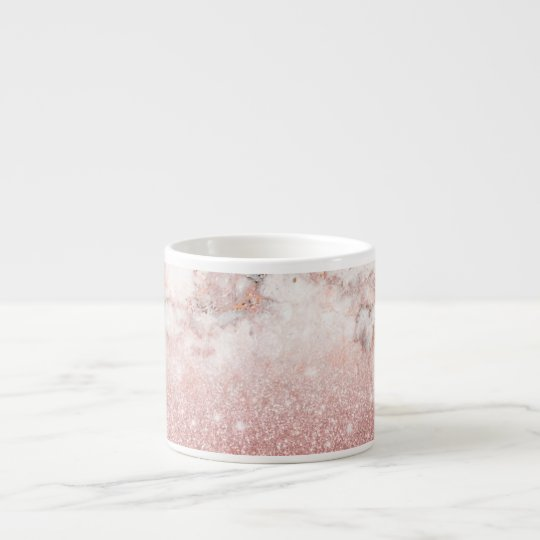 Xícara De Espresso Brilho cor-de-rosa Ombre de mármore branco do ouro