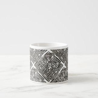 Xícara De Espresso Cinza-Mão áspera geométrico abstrato pintado