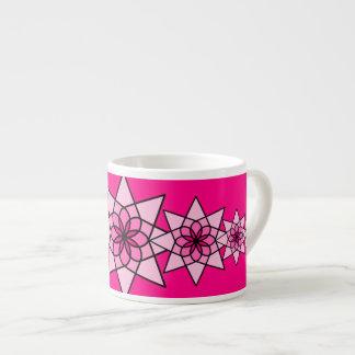 Xícara De Espresso Copo de café geométrico cor-de-rosa floral da flor
