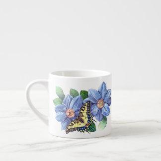 Xícara De Espresso Copo do café da borboleta da aguarela