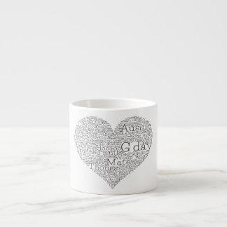 Xícara De Espresso Coração australiano do calão