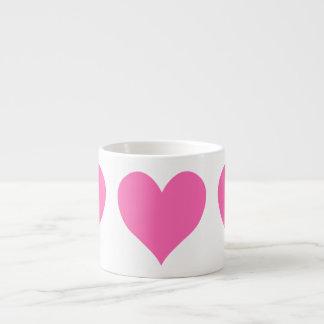 Xícara De Espresso Coração bonito do rosa quente