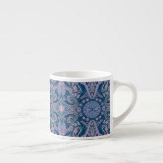 Xícara De Espresso Curvas & Lotuses, lavanda abstrata do teste padrão