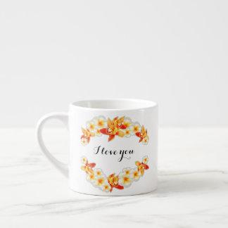 Xícara De Espresso Flores da orquídea e do Plumeria, elegantes eu te