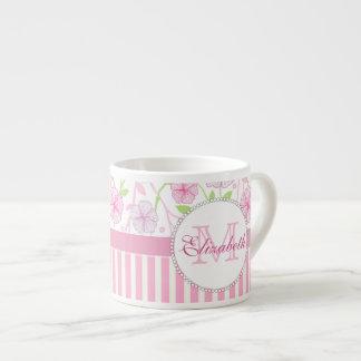 Xícara De Espresso Listras do rosa Pastel, do roxo, das flores, as