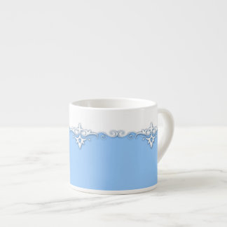 Xícara De Espresso Luz da beira do ornamento do vintage - azul