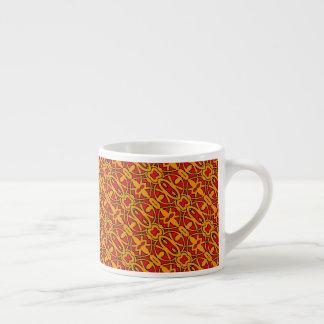 Xícara De Espresso Mão alaranjada & vermelha teste padrão tirado
