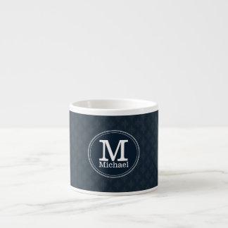 Xícara De Espresso Monograma clássico profundo do costume do marinho