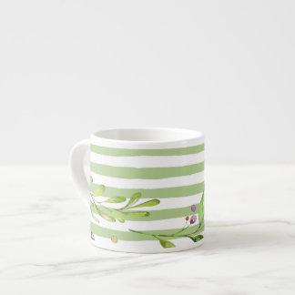Xícara De Espresso O verde corajoso da arte da aguarela listra o