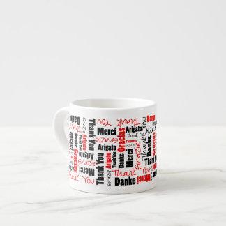 Xícara De Espresso Obrigado do vermelho e do preto você exprime a