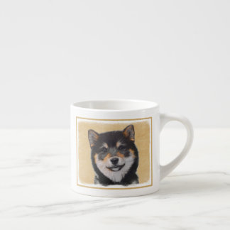 Xícara De Espresso Pintura de Shiba Inu (preto e Tan) - arte do cão