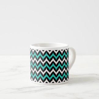 Xícara De Espresso Preto, branco e teste padrão de Ikat do ziguezague
