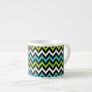 Xícara De Espresso Preto, branco, turquesa e ziguezague verde Ikat