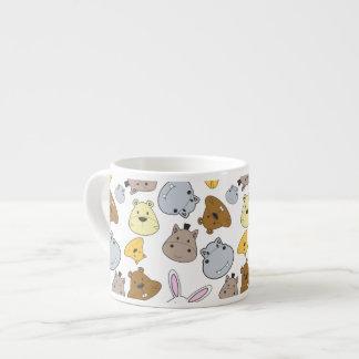 Xícara De Espresso Teste padrão bonito do retrato dos animais dos