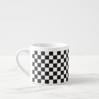 Xícara De Espresso Teste padrão Checkered retro clássico preto e