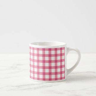 Xícara De Espresso Teste padrão cor-de-rosa da verificação do guingão