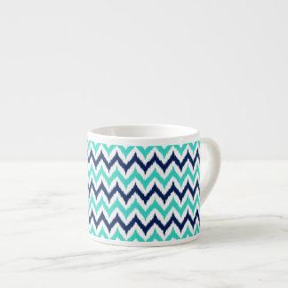 Xícara De Espresso Teste padrão de Ikat do ziguezague do branco, da