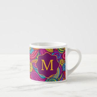 Xícara De Espresso Teste padrão de onda colorido retro de Swirly do