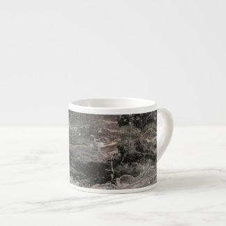 Xícara De Espresso Textura de mármore preta e cinzenta