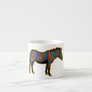 Xícara De Espresso Zebra colorida do arco-íris