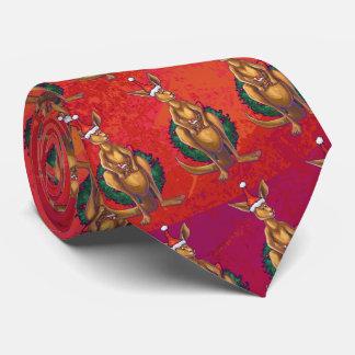 Xmas do canguru no vermelho gravata