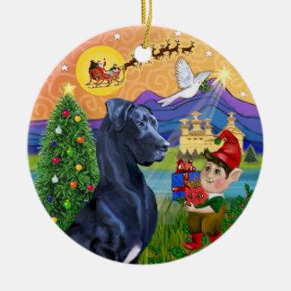 Xmas Fantasy* - great dane azul (orelhas naturais) Ornamento De Cerâmica Redondo