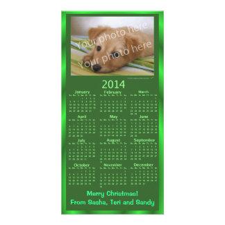 Xmas verde do calendário customizável do cartão co