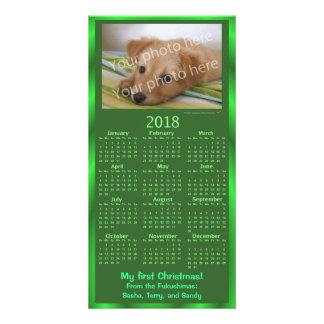Xmas verde do calendário do cartão com fotos 2018