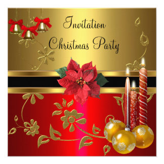 Xmas vermelho do ouro da festa natalícia do Natal  Convite Personalizados