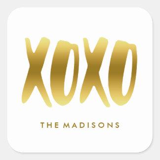 XOXO abraça e beija o branco da tipografia do ouro Adesivo Quadrado