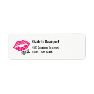"Xoxo cor-de-rosa ""sexy"" dos lábios de Kissy! Etiqueta Endereço De Retorno"
