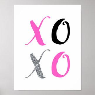 XOXO - Tipografia cor-de-rosa - poster branco Pôster