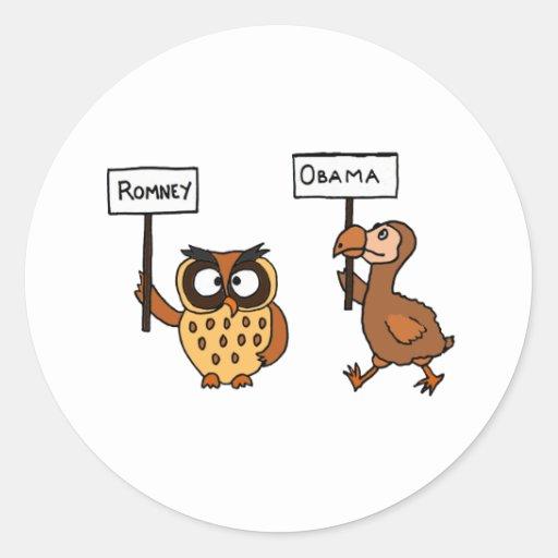 XX- anti coruja de Obama e pássaro engraçados de Adesivos Redondos