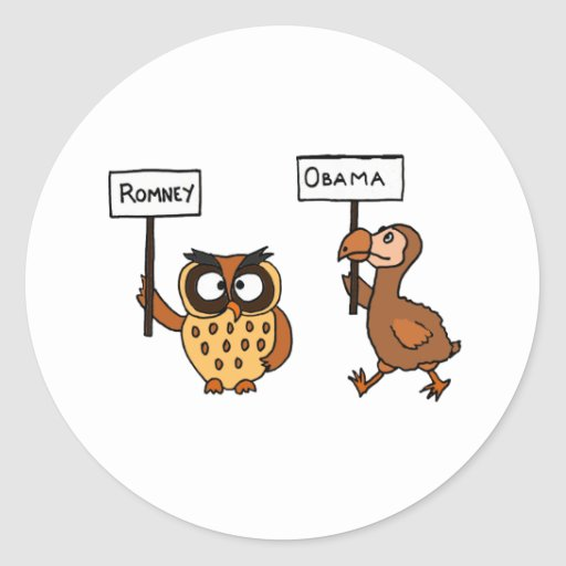 XX- anti coruja de Obama e pássaro engraçados de D Adesivos Em Formato Redondos