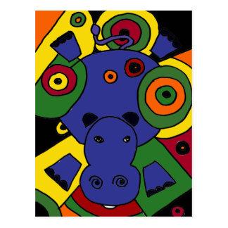 XX- arte abstracta do hipopótamo Cartão Postal