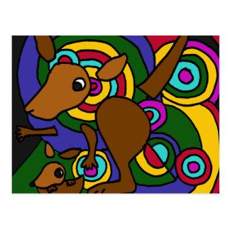 XX- canguru da arte abstracta Cartão Postal