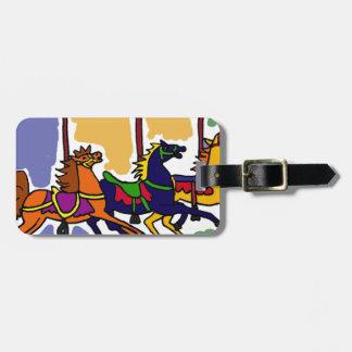 XX- design da arte do cavalo do carrossel Etiquetas De Bagagens