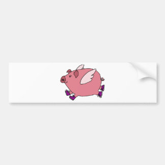 XX- porco engraçado do vôo com sapatilhas Adesivos