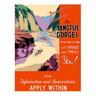 Yangtsze Yangtze Gorges a arte das viagens vintage Cartões Postais