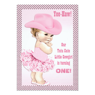 Yee-Haw! Aniversário pequeno bonito do bebê da Convite 12.7 X 17.78cm