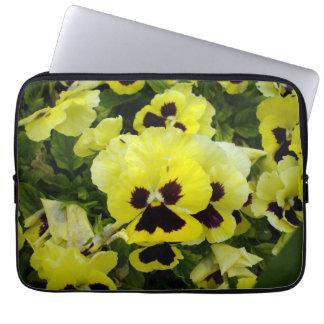 Yellow_Brown_Pansies, _13_Inch_Laptop_Sleeve Capa Para Computador