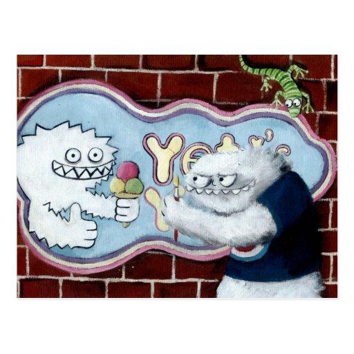 Yeti e seu logotipo cartao postal