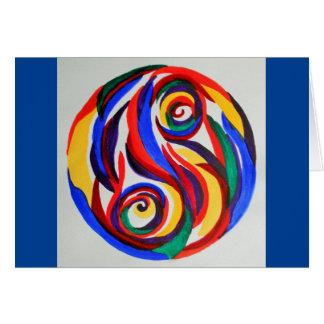 Yin abstrato yang do arco-íris da aguarela cartão comemorativo