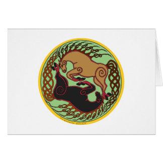 yin celta yang do cavalo cartão comemorativo