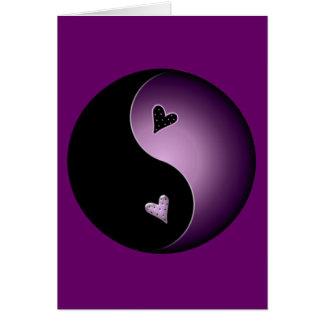 yin roxo yang cartão comemorativo